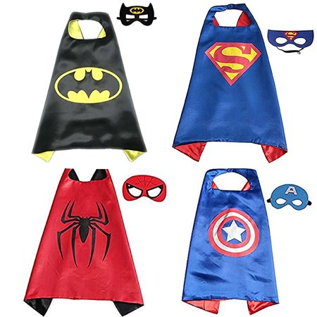【Best Gift for Birthday Party】Toddlers Superhero Costumes 4Pcs Capes and Masks Costumes For Kids Boys (Superhero Villain Costume)