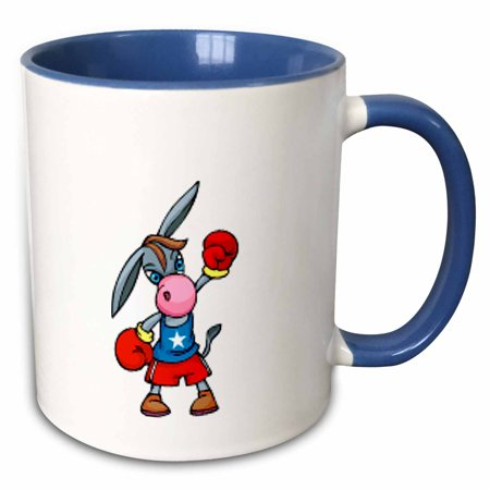 3dRose Democrat Donkey Mascot - Two Tone Blue Mug, 11-ounce