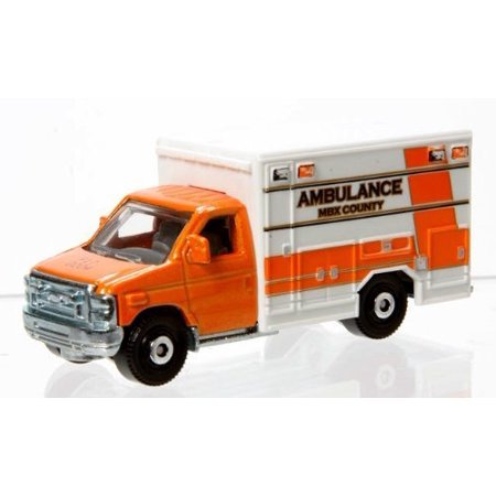 2009 AMBULANCE TRUCK FORD E-350 Matchbox 2014 MBX HEROIC RESCUE Series Fire Dept. Squad 1 Paramedic '08 FORD E-350 AMBULANCE 1:64 Scale Collectible Die Cast Metal Toy Car Model #30/120