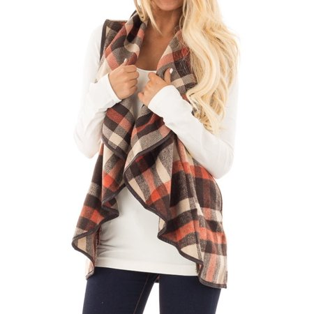 (Nlife Women's Plaid Lapel Collar Open Front Vest Cardigan)
