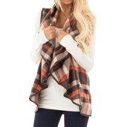 Nlife Women Lapel Collar Sleeveless Open Front Plaid Cardigan
