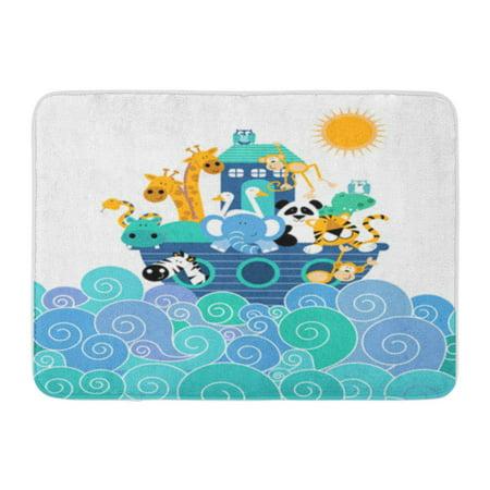 SIDONKU Pink Baby Noah Ark Blue Jungle Nursery Kids Doormat Floor Rug Bath Mat 23.6x15.7 inch