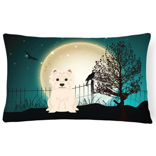 Carolines Treasures BB2232PW1216 Halloween Scary Westie Canvas Fabric Decorative Pillow - image 1 de 1