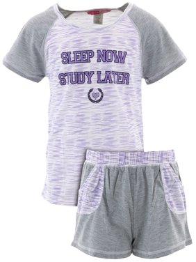 Katnap Kids Big Girls' Study Later Lavender Short Pajamas