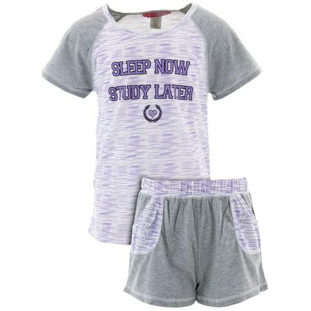 Katnap Kids Big Girls' Study Later Lavender Short Pajamas Big Kids Lavender Apparel