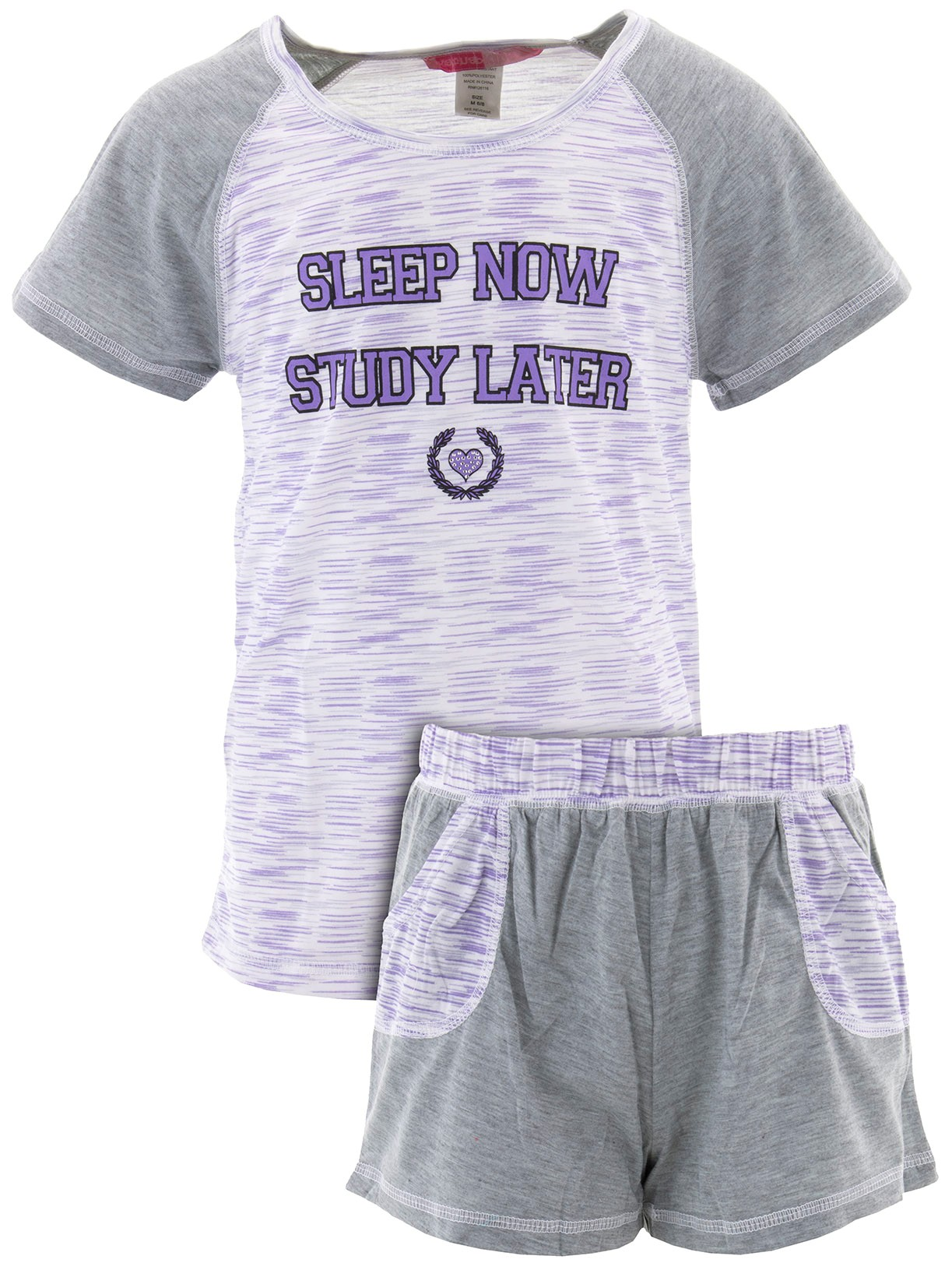 Katnap Kids Big Girls' Study Later Lavender Short Pajamas