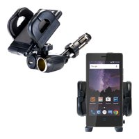Dual USB / 12V Charger Car Cigarette Lighter Mount and Holder for the ZTE Tempo