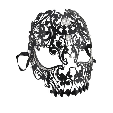Lacy Black Jeweled Wearable Fantasy Masquerade Mask - White Masquerade Masks For Men