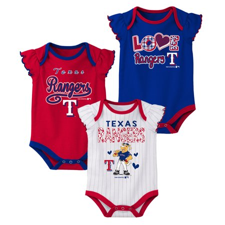 MLB Texas RANGERS Onesie Creeper GIRL 3PK 100% Cotton ASSORTED Colors 0M-18M