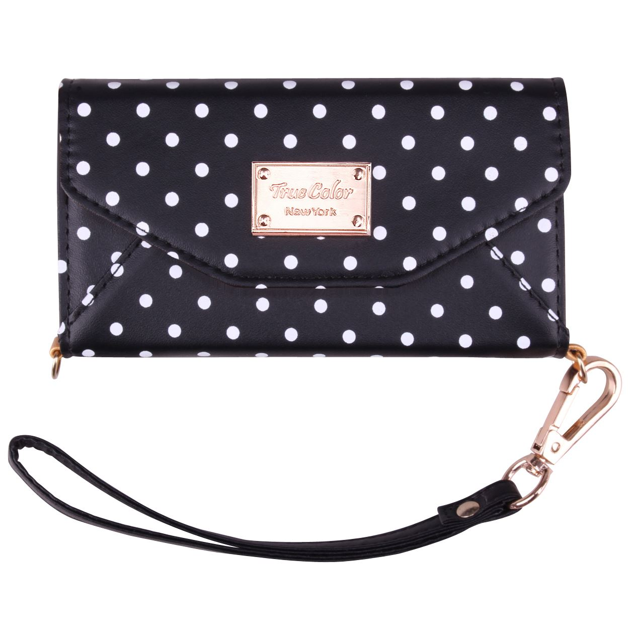 iPhone 6 6s Wallet Case, True Color Premium Leatherette Polka Dots Wristlet Clutch Folio Tri-Fold Wallet Purse Case Cover - Black