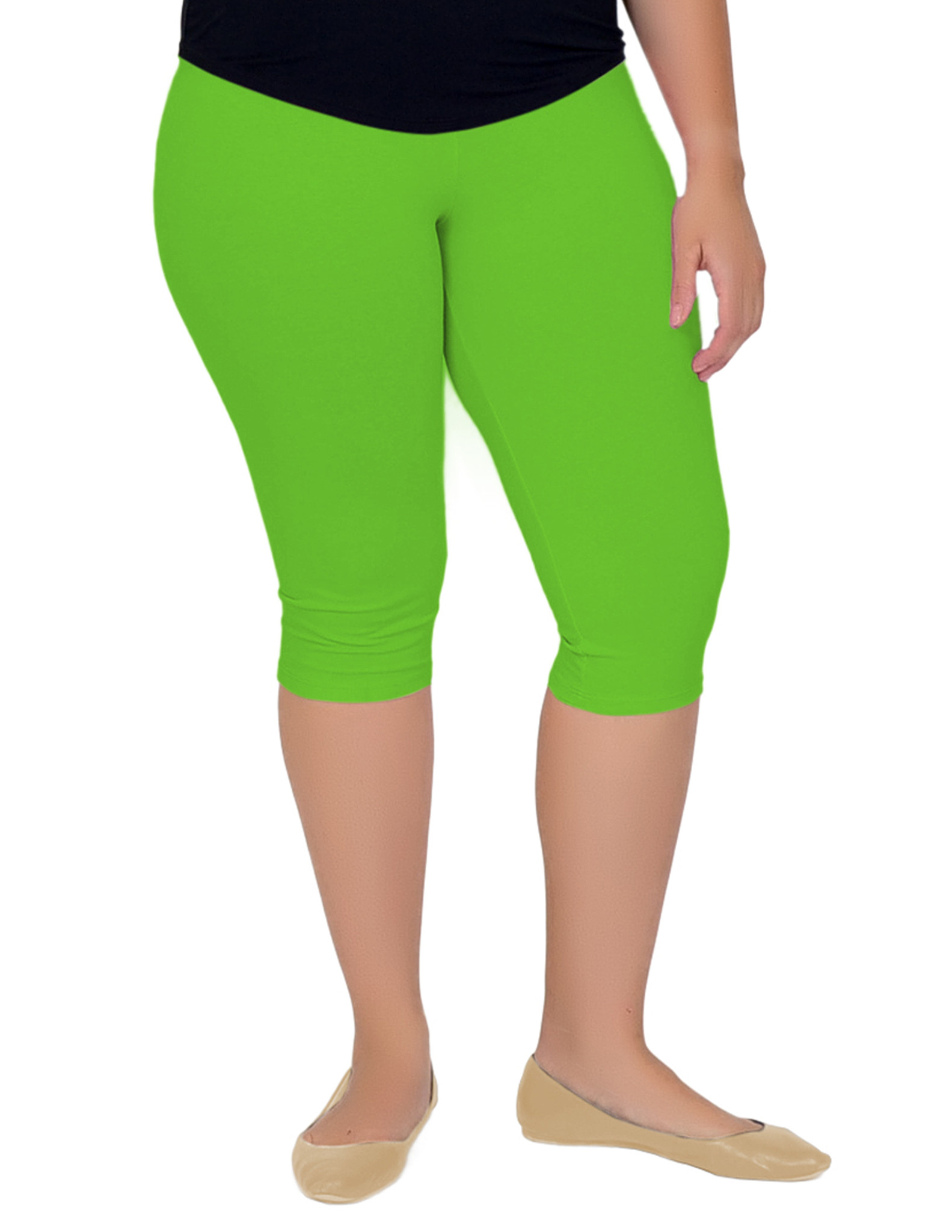 Plus Size Circuit Knee-Length Leggings - X-Large (12-14) / Beige