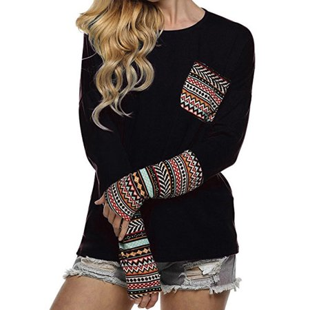 Black Thumbhole Stock (Women's Patchwork Casual Loose T-shirts Blouse Tops With Thumb)