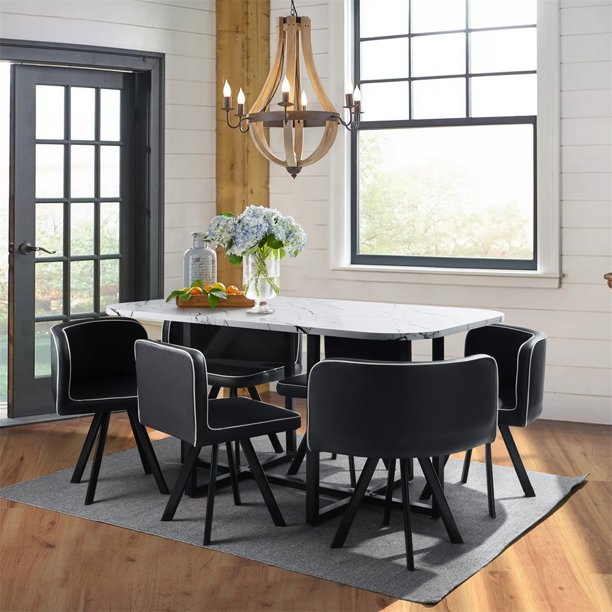 7 Piece Dining Table Sets Modern, 6 Person Dining Room Table Sets