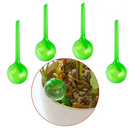Green Plastic Watering Can - Plant Watering Globes, 5 Piece Self Watering Globes Stakes, Plant Automatic Watering Device Globes Plastic Bulbs (Green)(L)