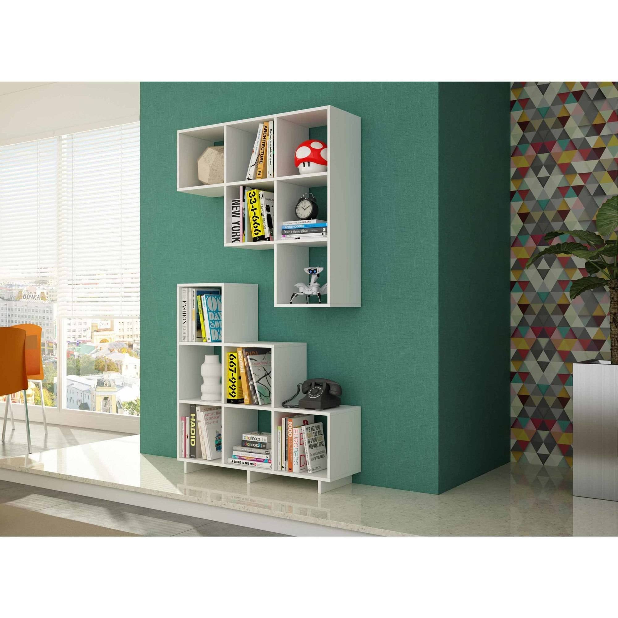 Manhattan Comfort Accentuations Sophisticated Cascavel Stair Cubby with 6 Cube Shelves, Set of 2