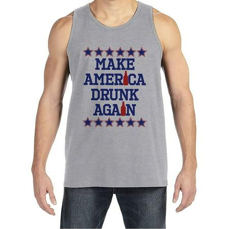 Custom Party Shop Men's Make America Drunk Again 4th of July Grey Tank Top - X-Large