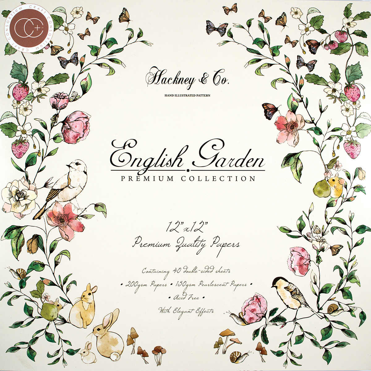 """Craft Consortium Double-Sided Paper Pad, 12"""" x 12"""", 40pk, English Garden"""