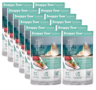 (12 Pack) Snappy Tom Naturals Tuna Temptations with Salmon Grain Free Wet Cat Food, 3.5 Oz.