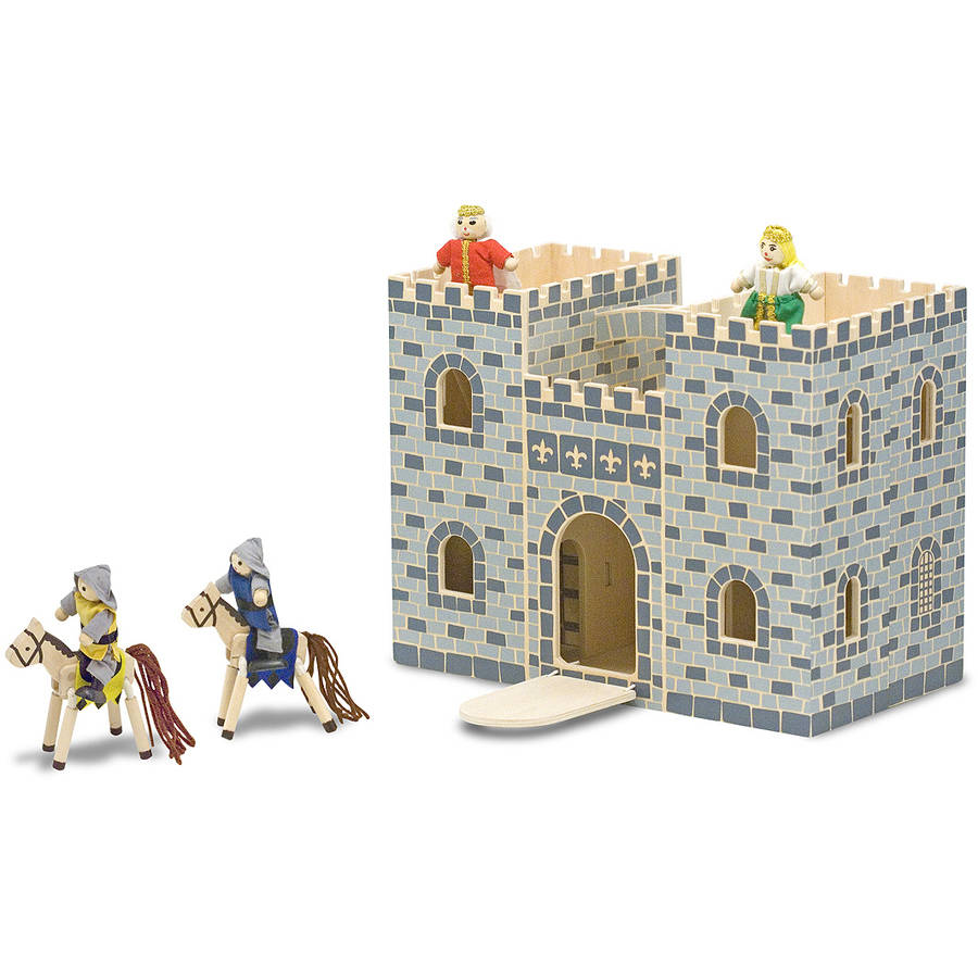 Melissa & Doug Fold and Go Wooden Castle Dollhouse With  Wooden Dolls and Horses (12 pcs)