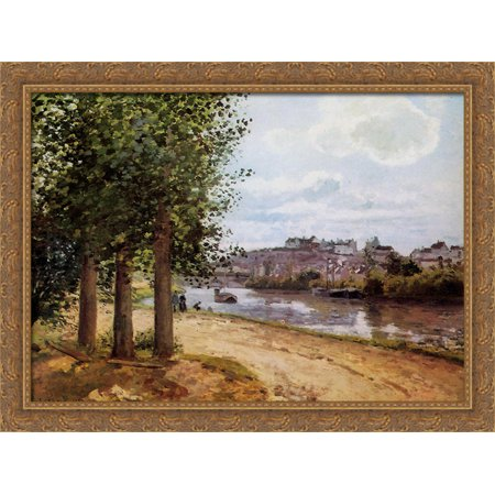 Pontoise Banks Of The Oise 36X28 Large Gold Ornate Wood Framed Canvas Art By Camille Pissarro