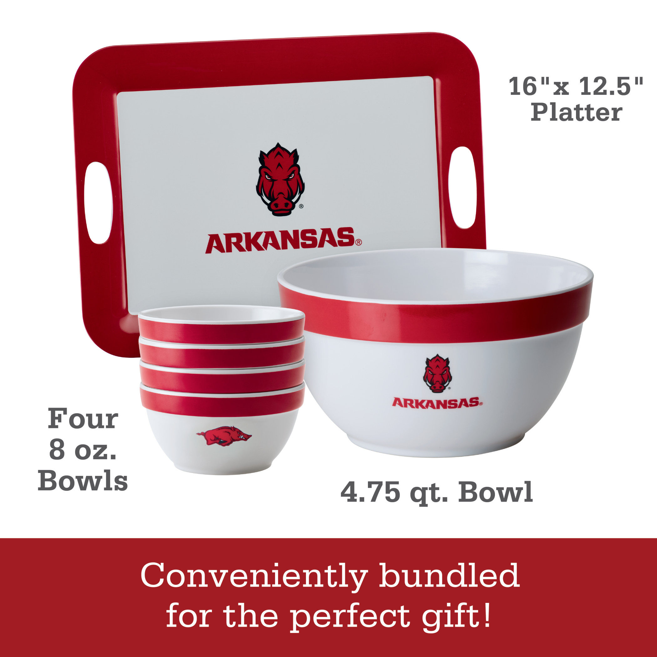 College Kitchen Collection 4.75-Quart Melamine Mixing Bowl Arkansas Razorbacks