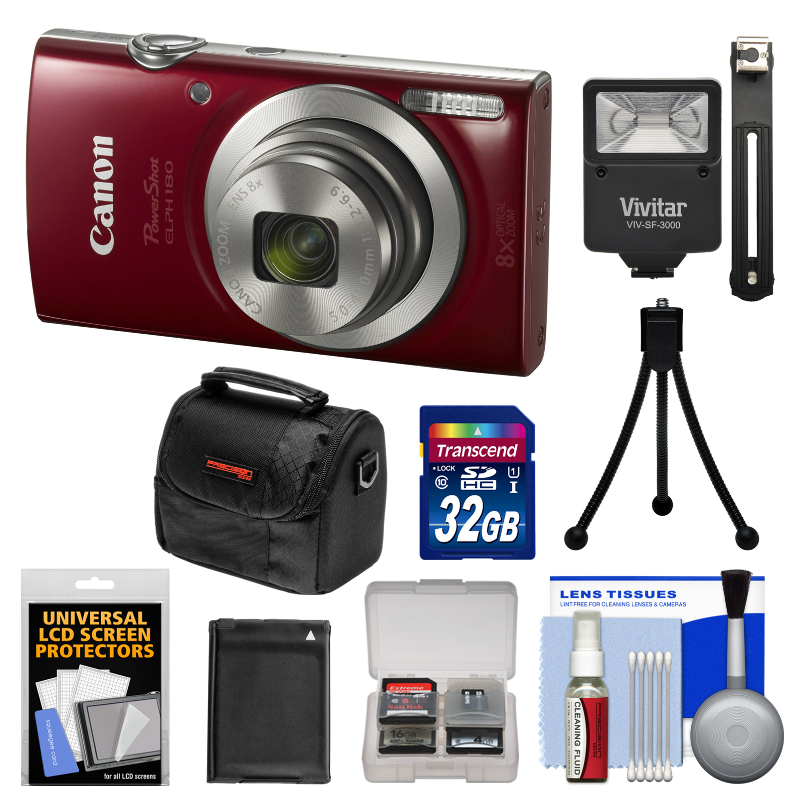 Canon PowerShot Elph 180 Digital Camera (Red) with 32GB Card + Battery + Case + Flash + Tripod + Kit