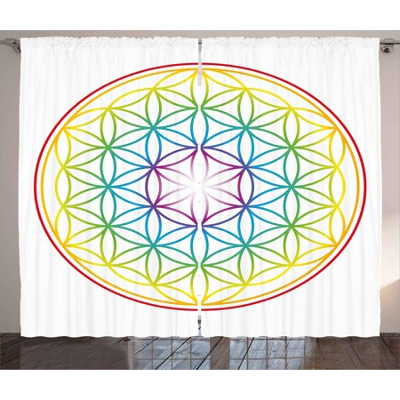 Colorful Curtains 2 Panels Set, Flower of Life Pattern Radiant Colors Cosmic Dimension Space Forms Artful Print, Window Drapes for Living Room Bedroom, 108W X 108L Inches, Multicolor, by Ambesonne