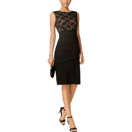 CONNECTED APPAREL Womens Black Lace  Tiered Sleeveless Jewel Neck Knee Length Sheath Cocktail Dress  Size: 6