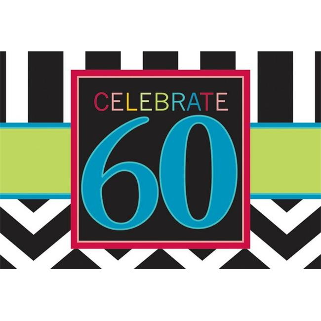 Amscan 490019 Celebration 60th Invitations - Pack of 96