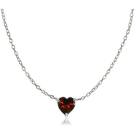 (Garnet Sterling Silver Small Dainty Heart Choker Necklace)
