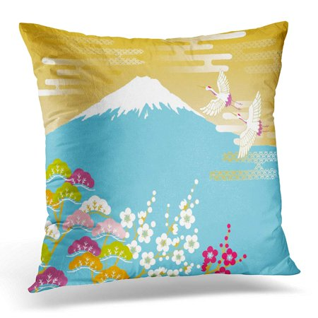 - ECCOT Japan Japanese Red Crowned Crane Flying in The Mount Fuji and Plum and Pine Cloud Pillowcase Pillow Cover Cushion Case 20x20 inch