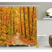 orange and brown shower curtain. Fall Decor Shower Curtain  Deciduous Trees with Leaves Pathway Wilderness Woodland Image Fabric Leaf Curtains