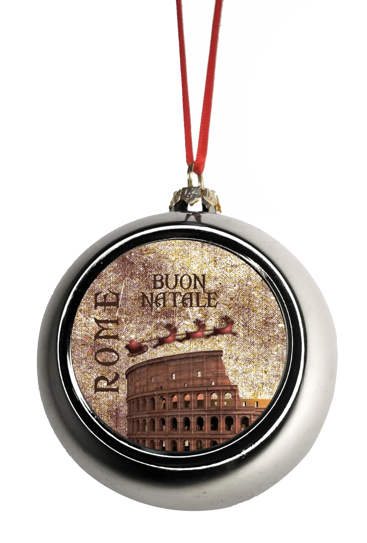 Roman Christmas Ornaments.Ornaments Vintage Santa Klaus And Sleigh Riding Over The Roman Colosseum In Rome Italy Bauble Christmas Ornaments Silver Bauble Tree Xmas Balls