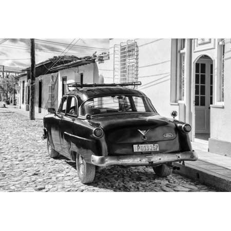 Cuba Fuerte Collection B&W - Ford Classic American Car II Print Wall Art By Philippe
