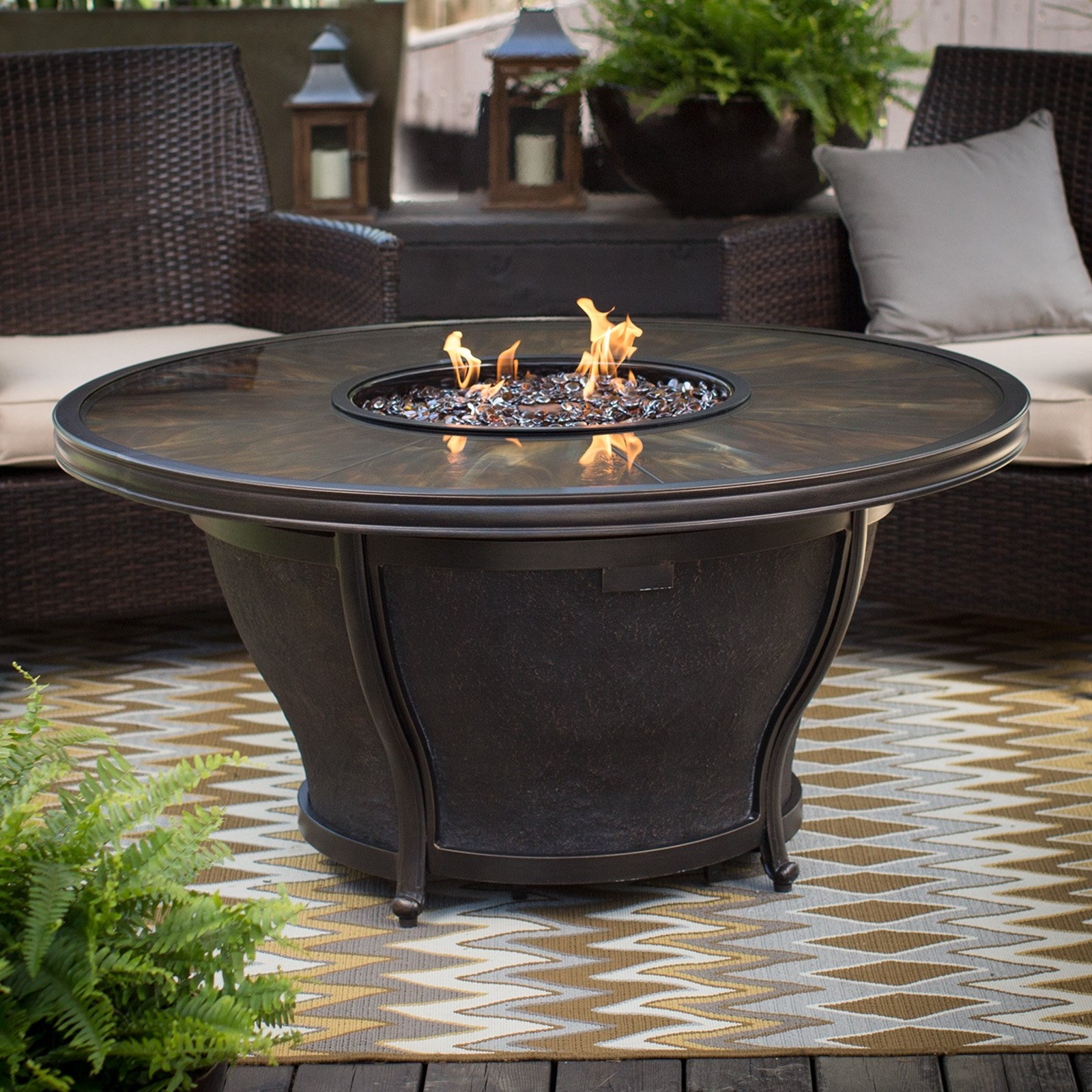 Agio Moonlight 48 In. Round Fire Pit Table With FREE Cover