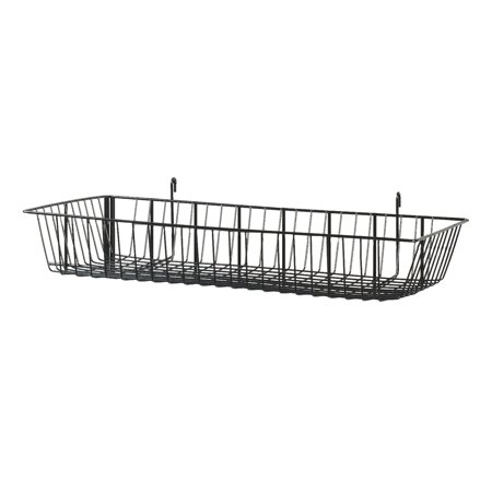 Black Mini Wire Grid Basket for Wire Grid (24 x 12 x 4 inch) - Grid Wall Basket - 2