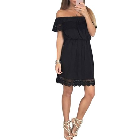 Lace Crochet Spliced Off Shoulder Dress Women Summer Mini Sundress for Beach Party Cocktail Evening Party Short Sleeve Solid Dresses