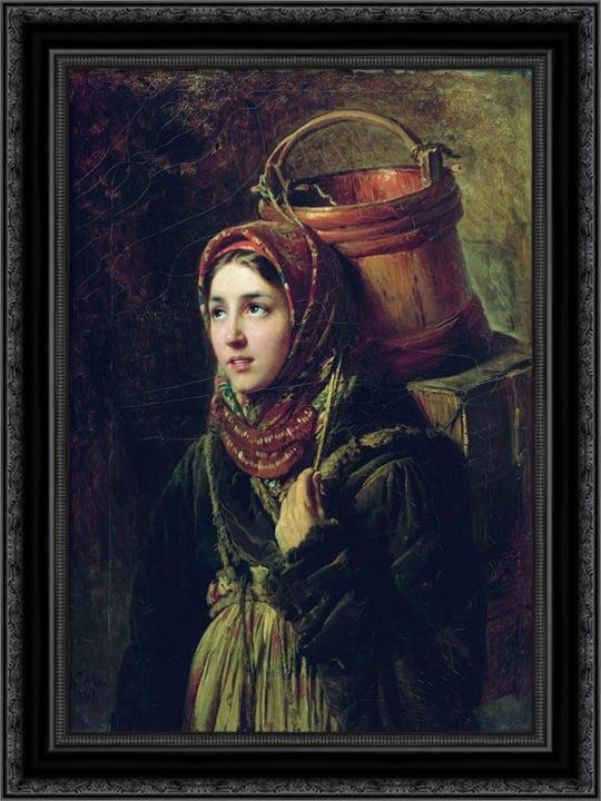 Herring Dish 20x24 Black Ornate Wood Framed Canvas Art by Makovsky, Konstantin by FrameToWall