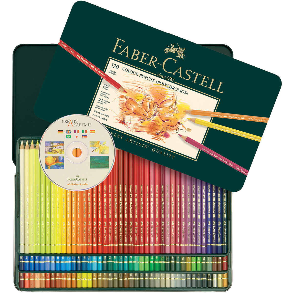 Polychromos Colored Pencil Set In Metal Tin 120pc-