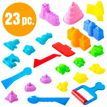 Children's Sand Molds Kit (23 pcs) - Use with Kinetic Sand, Sands Alive, Brookstone Sand, Waba Sand, Moon Sand and All Other Molding Play Sand Brands - (Sand not included) - Bulk Play Sand