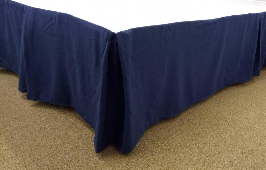 Qutain Linen Tailored Bedskirt Dust Ruffle Solid Navy Blue Queen Size by