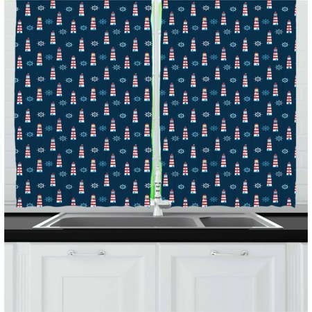 Lighthouse Curtains 2 Panels Set, Abstract Helms Marine Navigation Towers Children Cartoon Style Pattern, Window Drapes for Living Room Bedroom, 55W X 39L Inches, Navy Blue Red White, by Ambesonne ()
