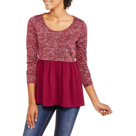 Image of Juniors' Long Sleeve Babydoll Top with Contrast Bottom