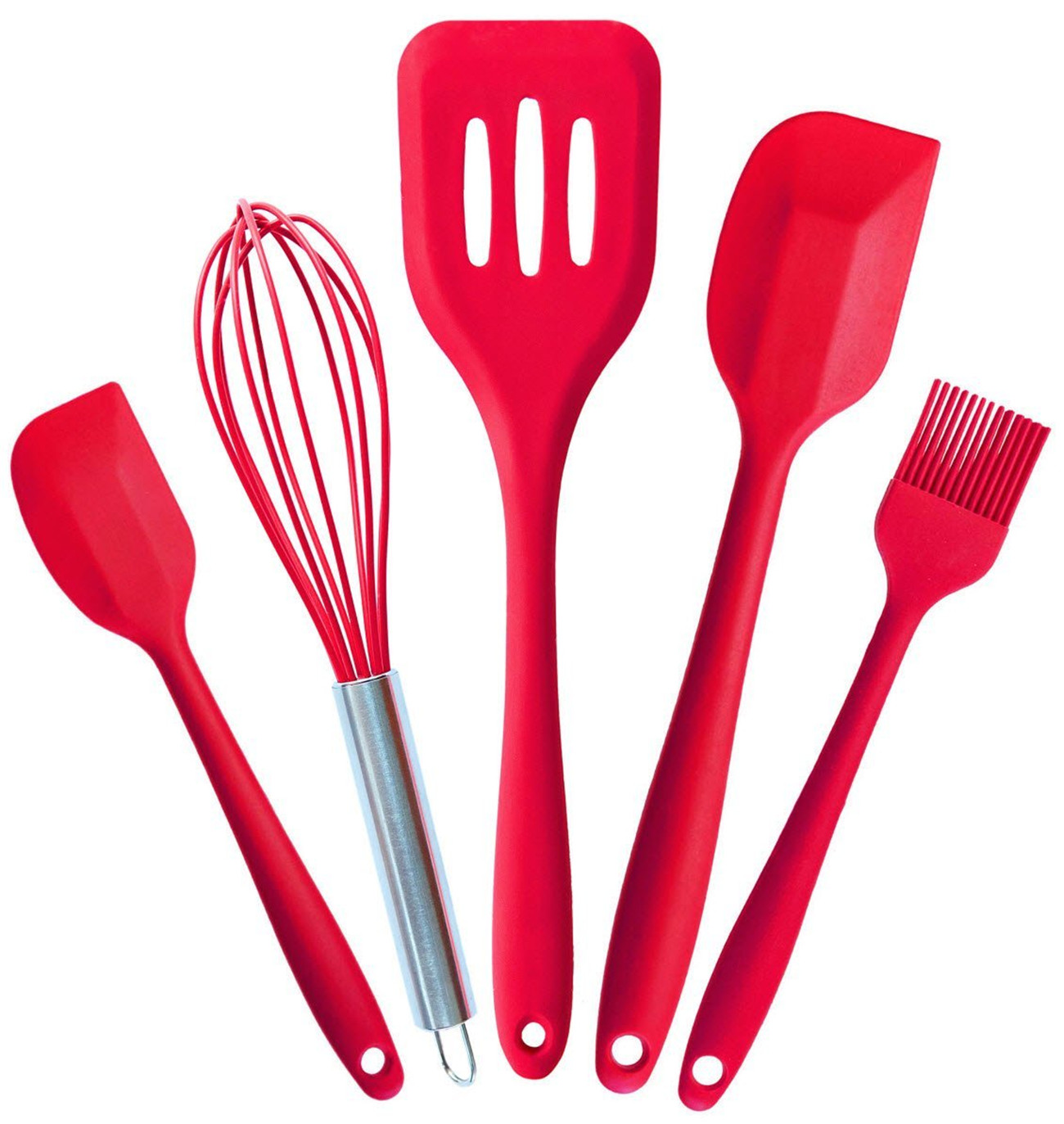 Cooking Utensils - Silicone Kitchen Set in Hygienic Solid Coating - Heat Resistant Baking Tools (5 Piece)