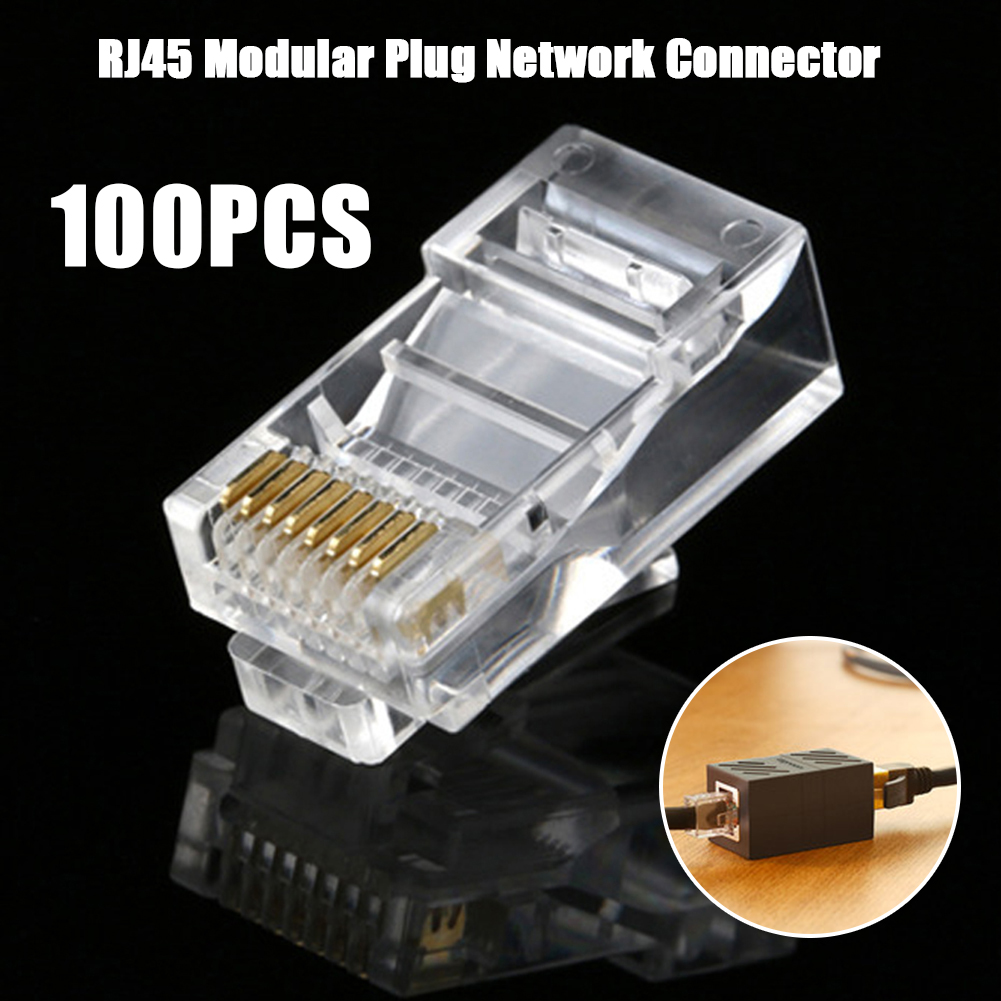 100 X RJ45 Modular Plug Network Connector For UTP Cat5 Cat5e Solid Cable Heads
