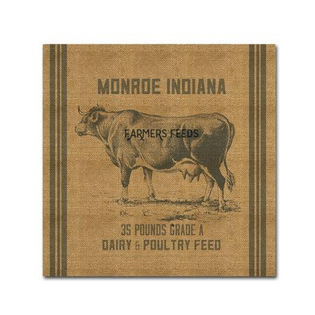 Trademark Fine Art Cow Feed Sack Canvas Art By Marcee Duggar