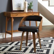 """OFM 161 Collection Mid Century Modern 18"""" Bentwood Frame Dining Chairs with Vinyl Back and Seat Cushion, in Walnut/Black (161-WV18A-BLK)"""