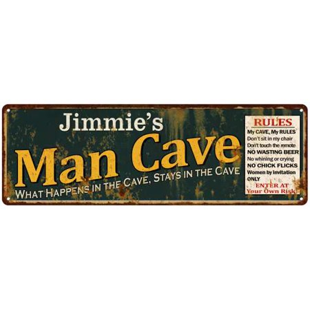 Jimmie's Man Cave Rules Green Personalized Sign Decor Gift 6x18 106180005304