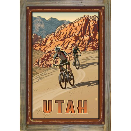 Utah Bikers Rustic Metal Print on Reclaimed Barn Wood by Paul Leighto