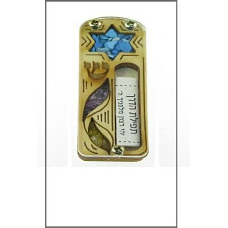 Israel Star (Car Mezuzah - Handmade in Israel Star of David Wood and Gem Stone Design )